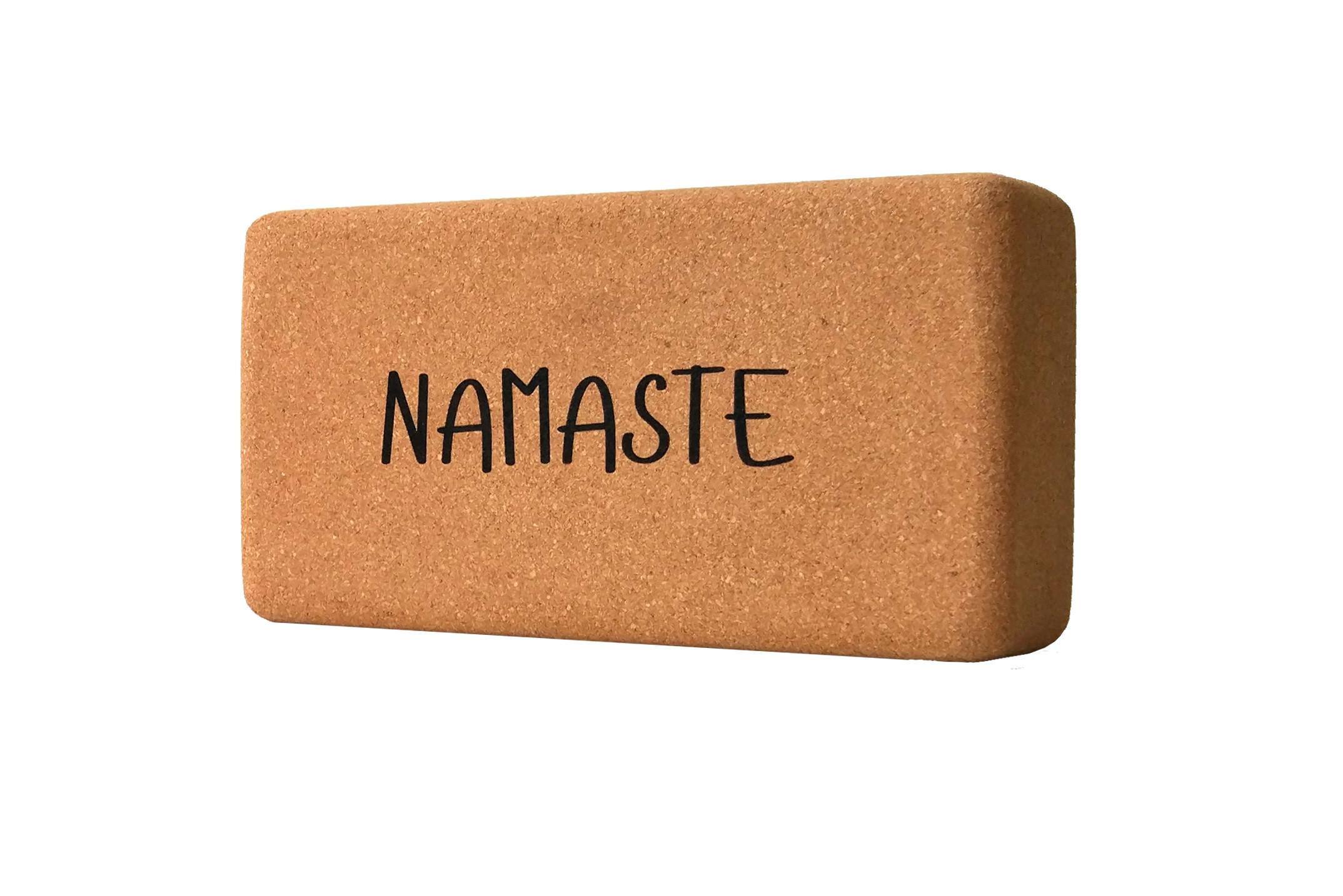 Кирпич для йоги из пробки с принтом Namaste YC (0.9 кг, 7 см , 22,5 см, коричневый, 11 см)