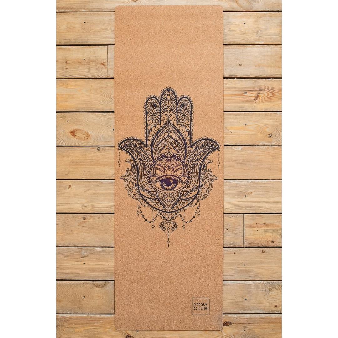 Коврик для йоги Hamsa YC из пробки и каучука (2.5 кг, 185 см, 3 мм, бежевый, 60см) цена