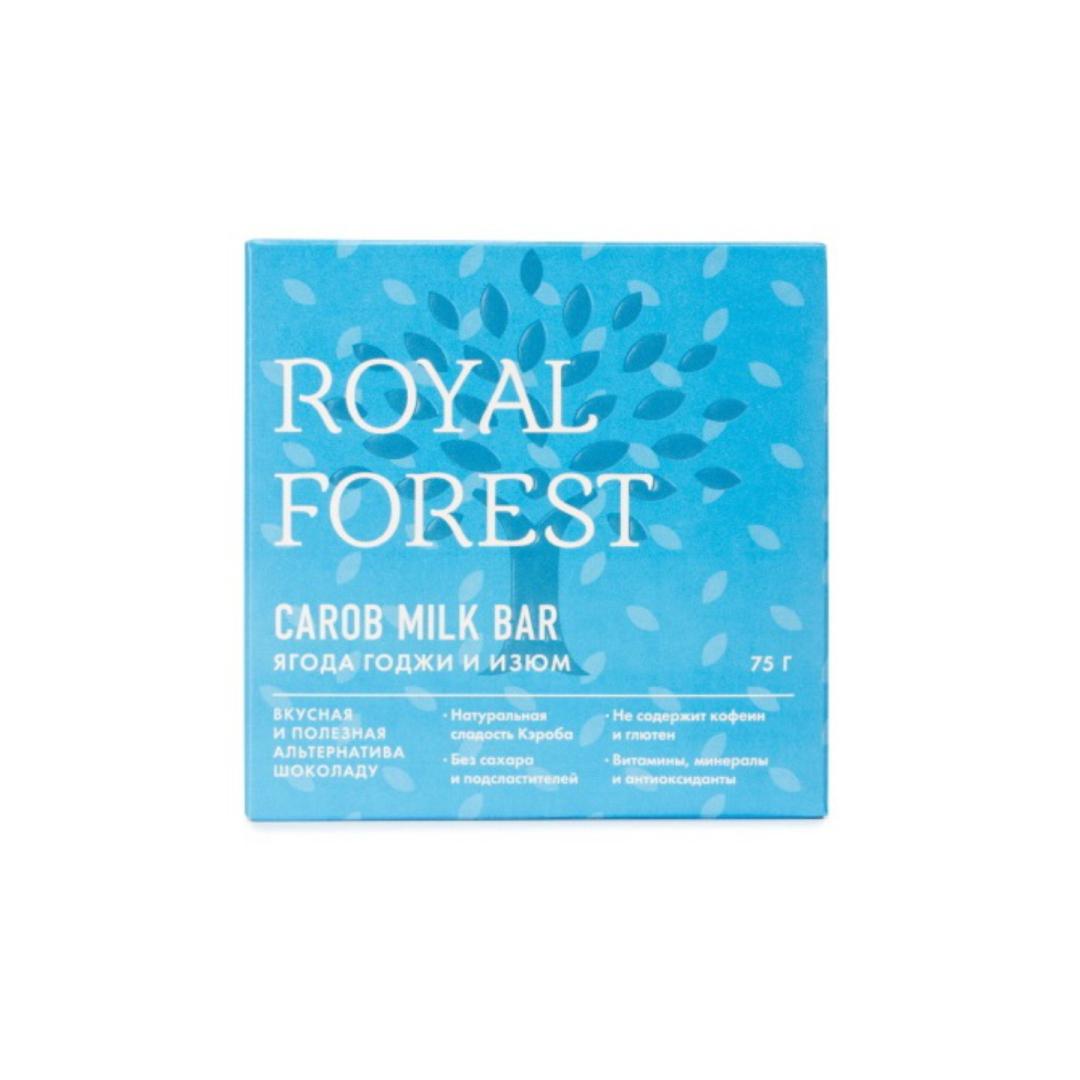 Шоколад из кэроба с ягодой годжи и изюмом Royal Forest (75 г) кэроб обжаренный royal forest 200 г