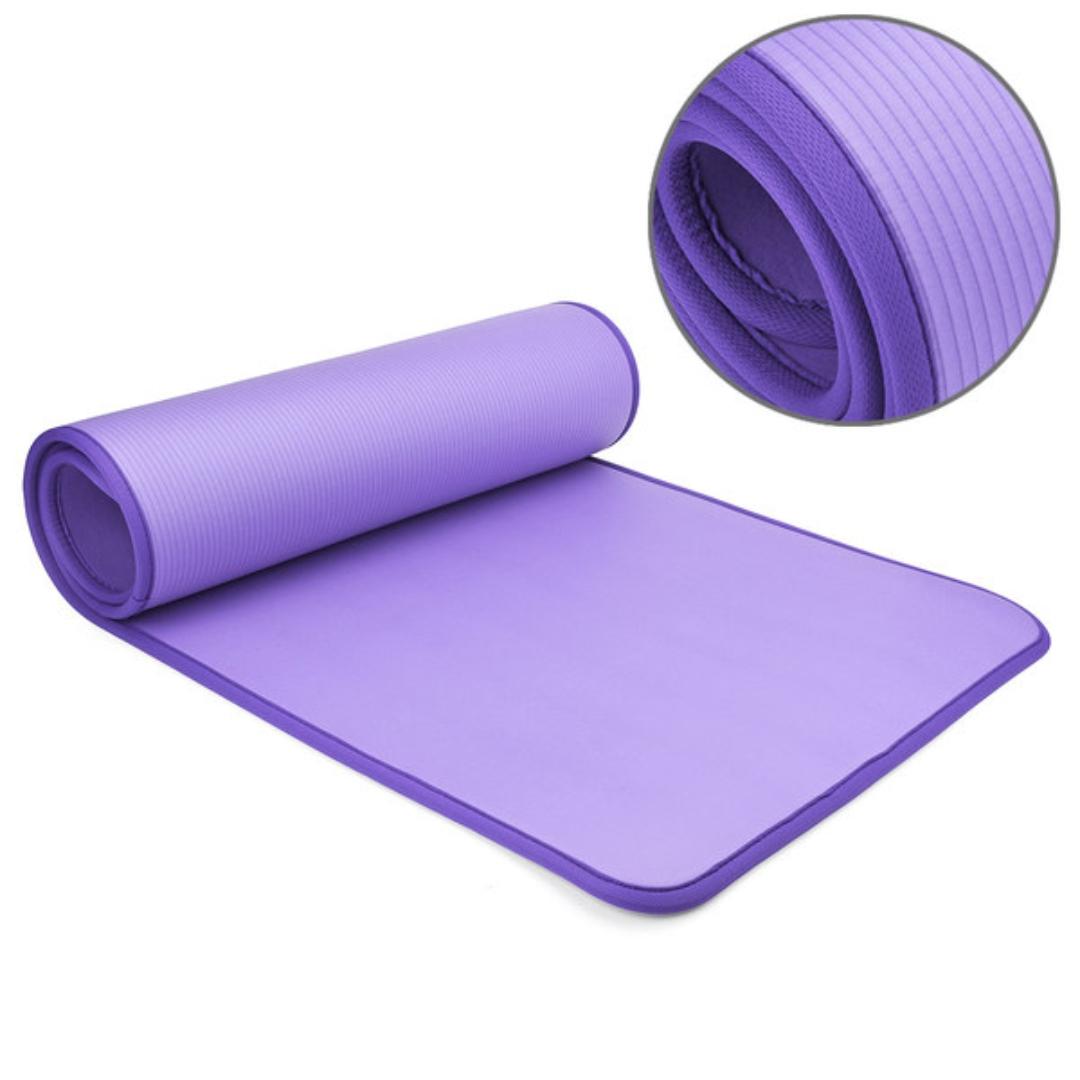 Коврик для йоги и фитнеса NBR 60 см с кантом 1 (0,9 кг, 183 см, фиолетовый, 61 см)