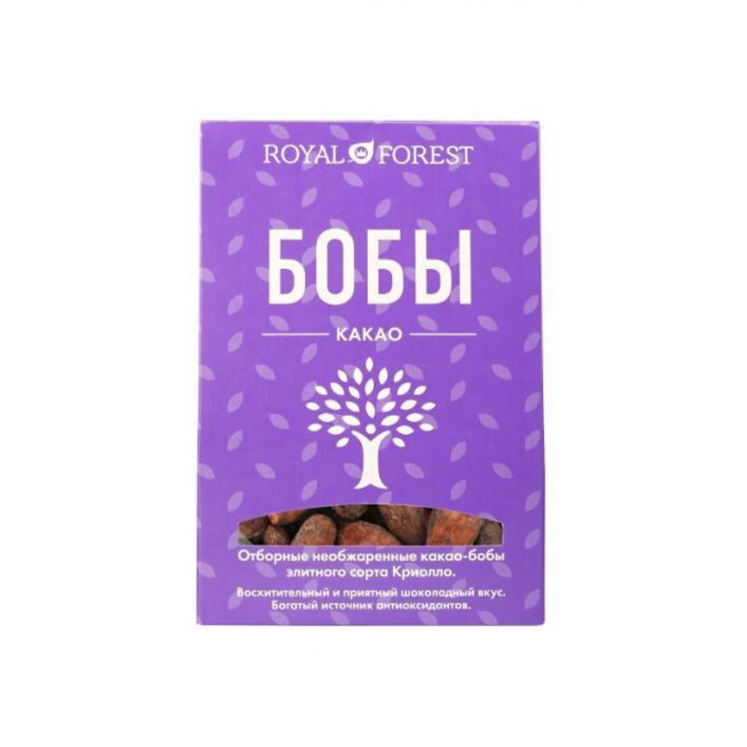 Какао бобы необжаренные, неочищенные Royal Forest (200 г) какао крупка слабо обжаренная royal forest 200 г