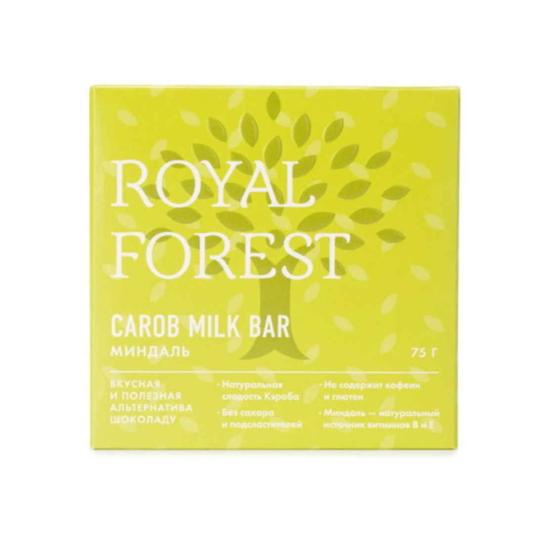Шоколад из кэроба с миндалем Royal Forest (75 г) шоколад из необжаренного кэроба royal forest 75 г