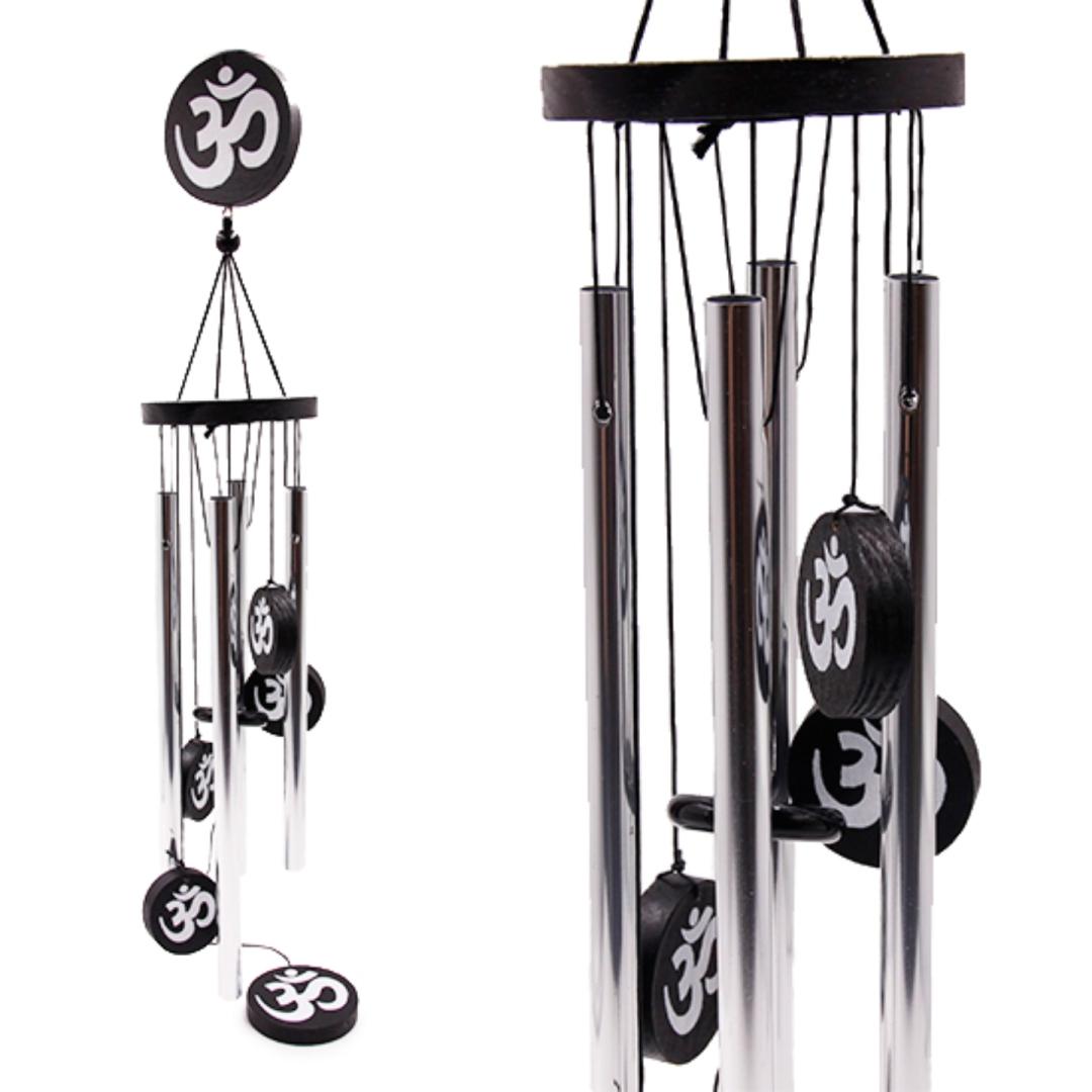 Музыка ветра 4 палочки с мантрой Ом 70 см (0,3 кг, серебряный) цена