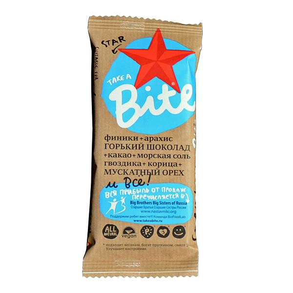 Батончик BITE Star финики арахис какао гвоздика корица (45 г) арахис peanuts 2014 500g