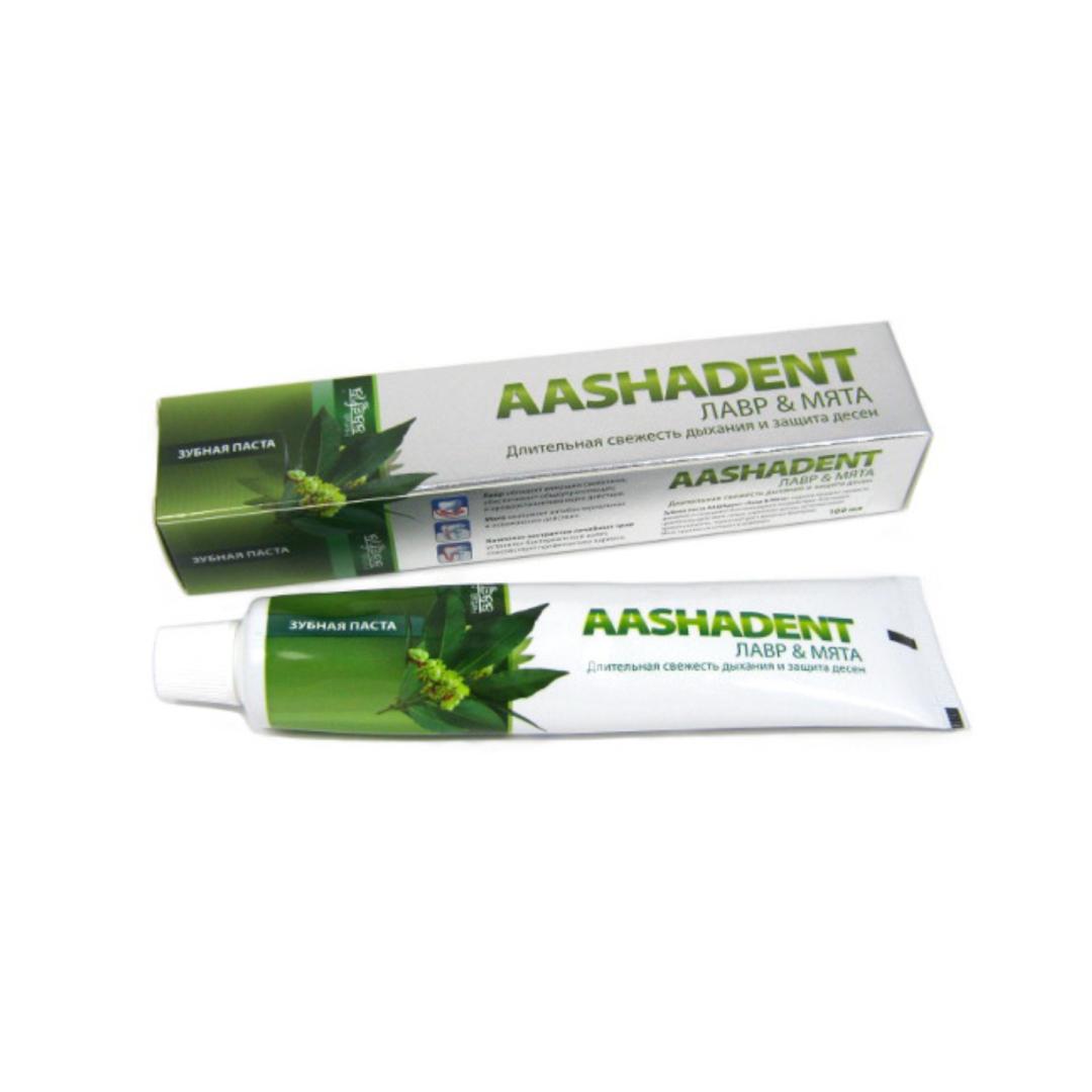 Зубная паста лавр мята AashaDent (100 г) лесной бальзам зубная паста тройной эффект мята и смородина на отваре трав 75мл