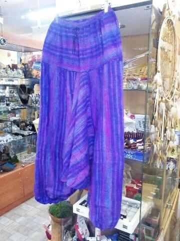 Афгани для йоги фиолетовые шерстяные утепленные со шнурком