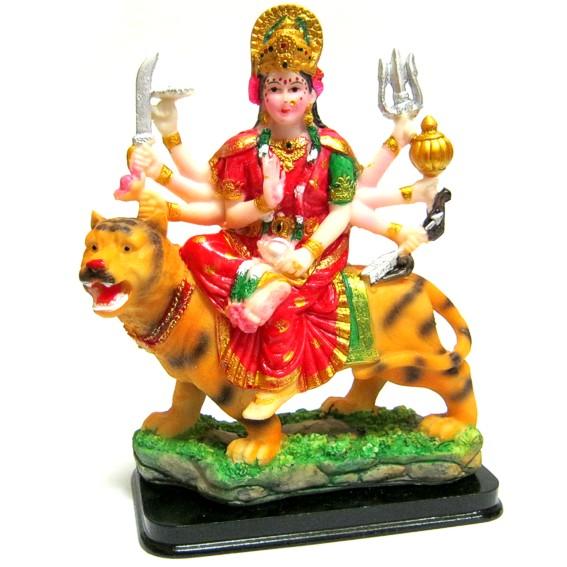 Статуэтка цветная Дурга на тигре, пластик 20см статуэтка sabadin статуэтка богиня удачи на деревянной подставке цветная sb2368lal