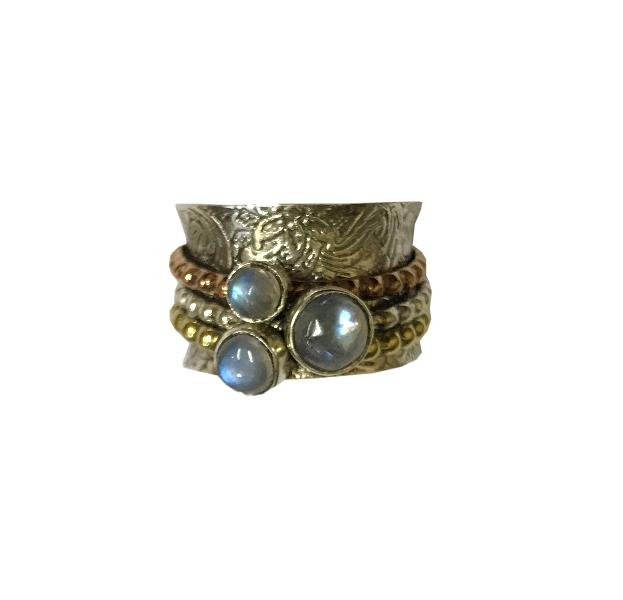 Кольцо прокручивающееся с лунным камнем серебро the complete henry bech