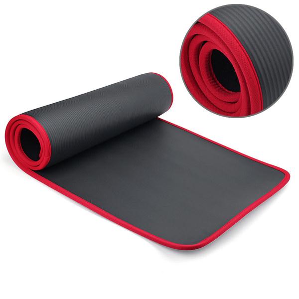 Коврик для йоги и фитнеса NBR 60 см с кантом 1 см (0,9 кг, 183 см, 1 см, черный, 61 см) коврик для йоги и фитнеса nbr go do 1 см 183 см 1 см черный 60 см