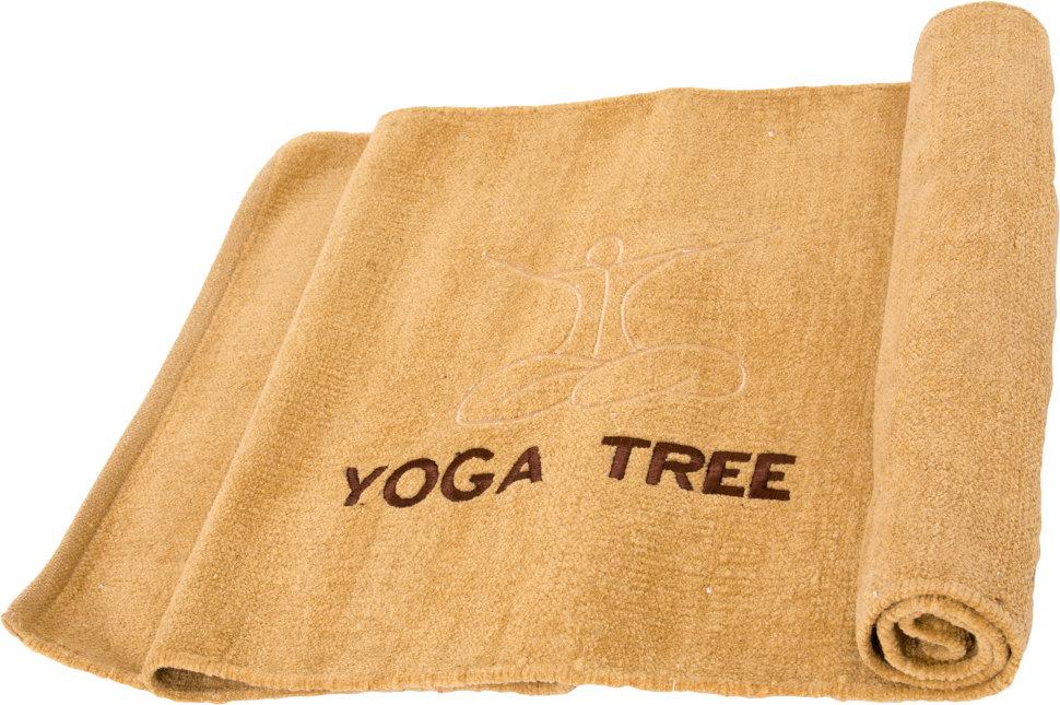Коврик для йоги из хлопка Yoga Tree + чехол (1.2 кг, 190 см, 5 мм, бежевый, 60см)