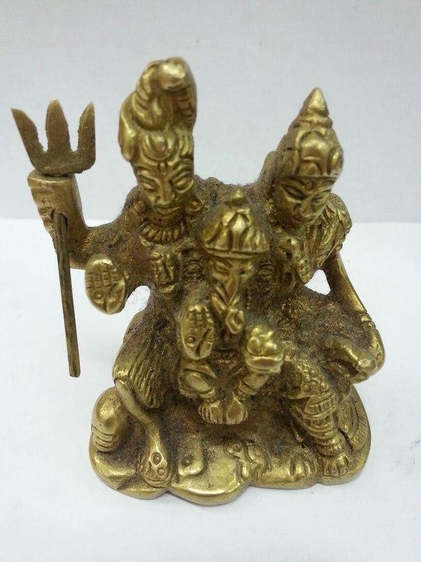 Семья шива, парвати, ганеш статуэтка бронза 6,5см