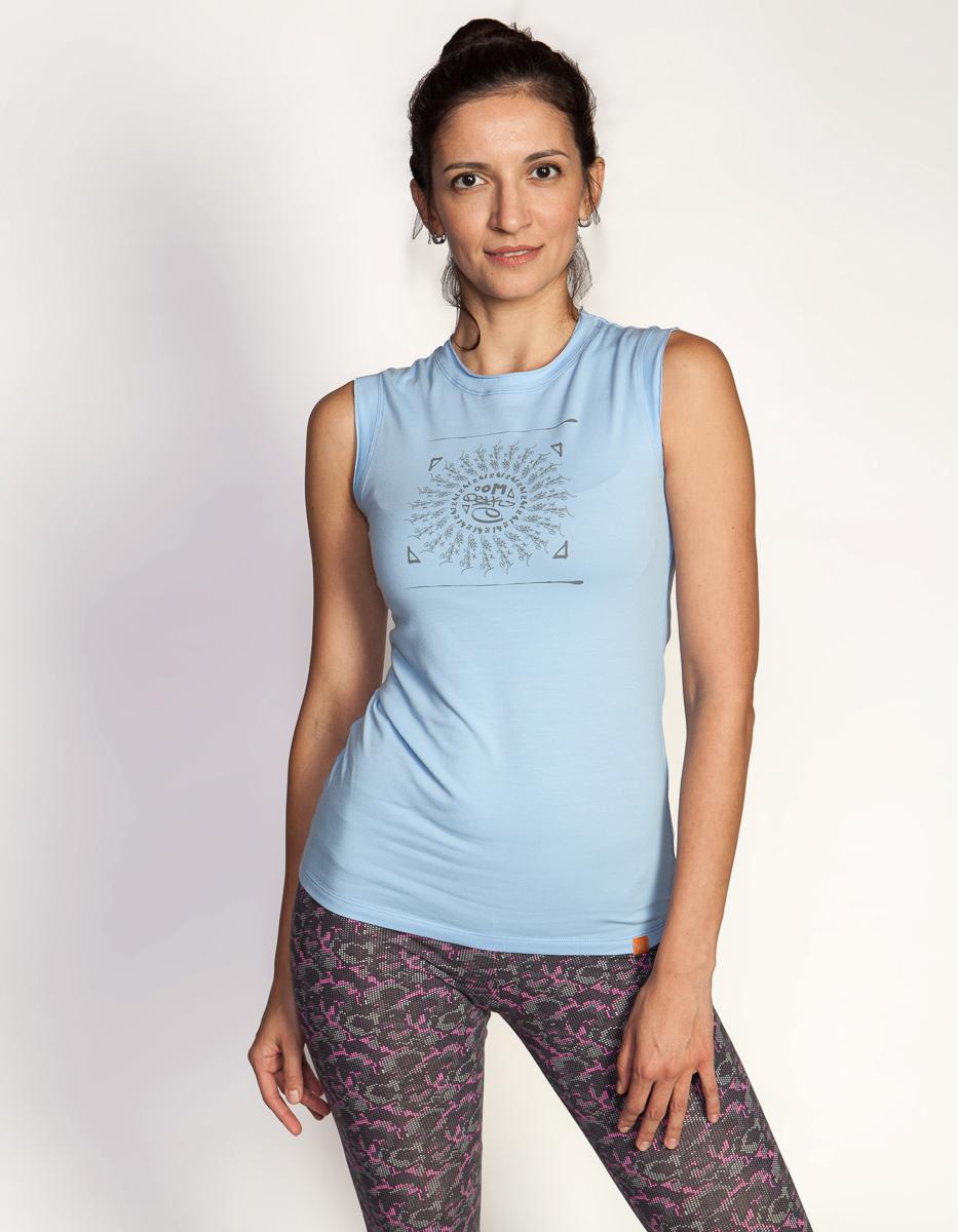 Майка женская Мантра YogaDress (0,3 кг, M(46), голубой) майка мужская ганеша yogadress m 48 синий джинсовый