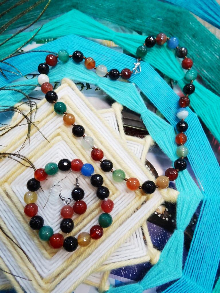 Набор украшений Осенний Агат бусы+браслет+серьги авторские бусы агат хрусталь сказочный блеск