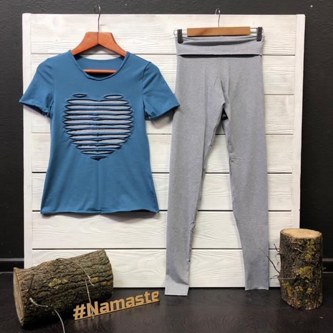 Футболка для йоги женская Yoga Heart Рамайога (0,3 кг, S (44), голубой) футболка для йоги женская free рамайога ramayoga голубой 0 3 кг 42 46