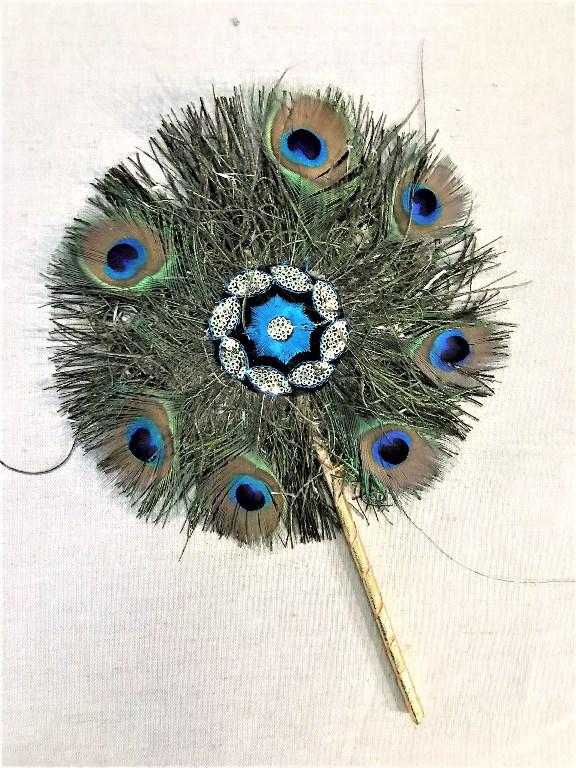 Веер из перьев павлина 22см (Нет, 0,05 кг, 22 см) seanna платок шёлк золотистые перья павлина в золотых цепях