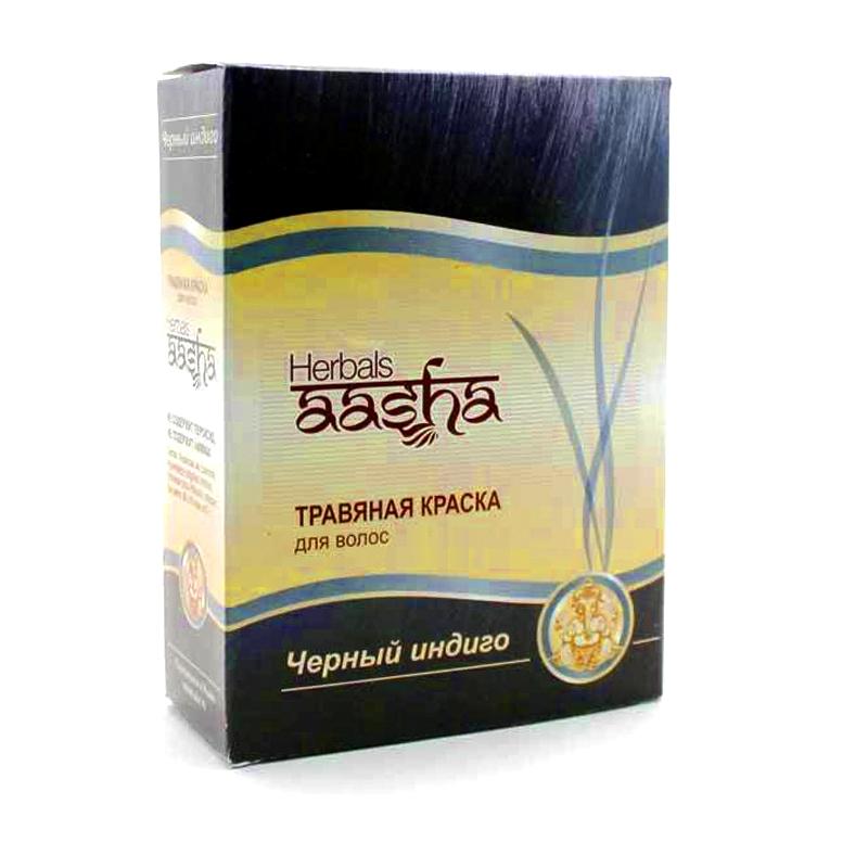 Травяная краска на основе хны черный индиго Aasha Herbals (60 г) ааша хербалс краска травяная для волос черный