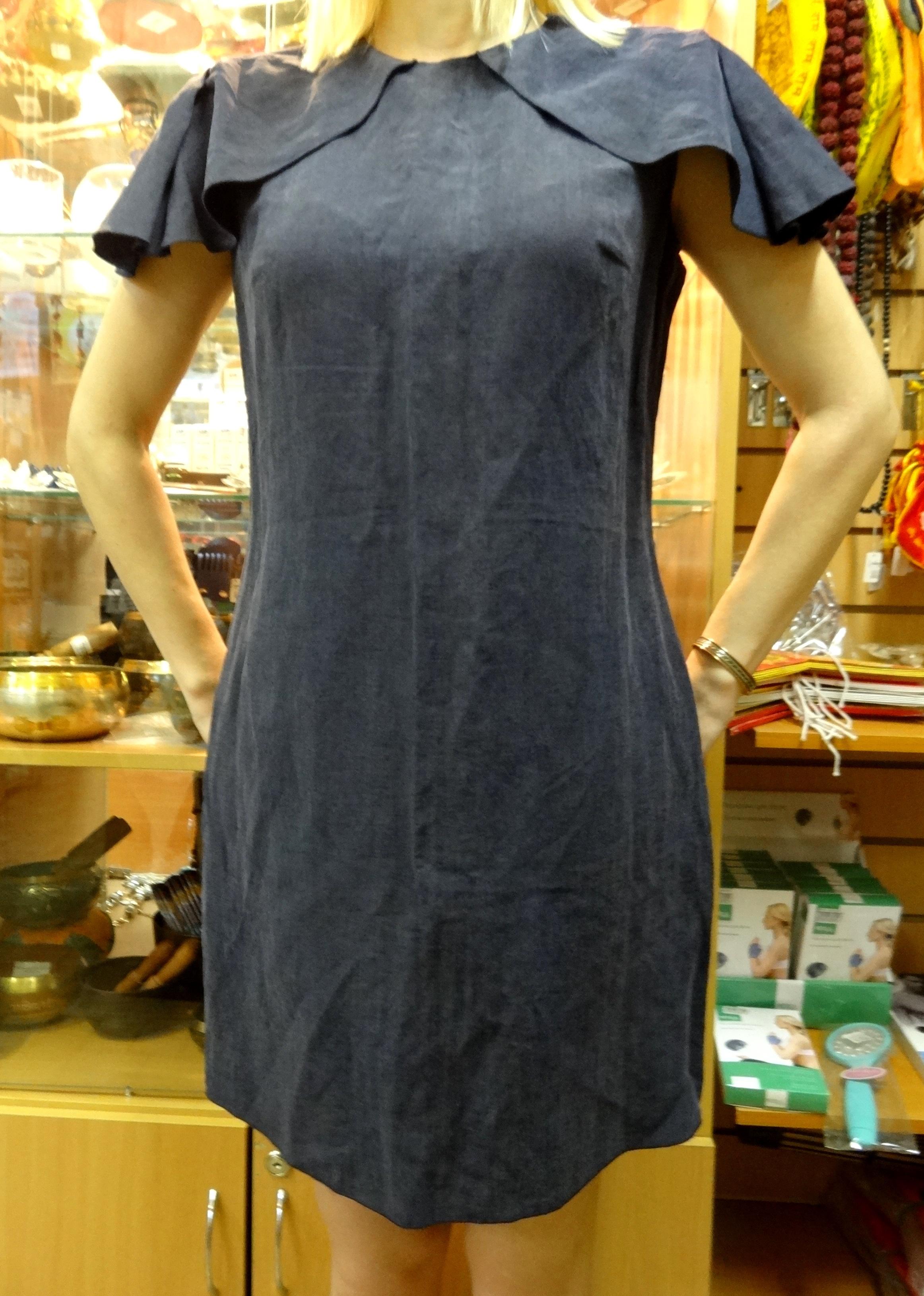 Платье Cape Dress Синее из органического льна Chillife.