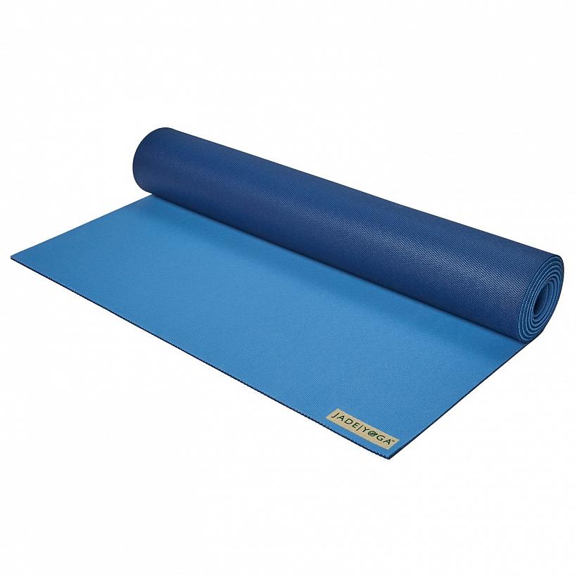 Коврик для йоги Jade Two tone 5 мм из каучука (2,3 кг, 180 см, 5 мм, темно-синий, 60 см) коврик для йоги pro chakras yc из полиуретана и каучука 2 3 кг 185 см 4 5 мм черный 68см