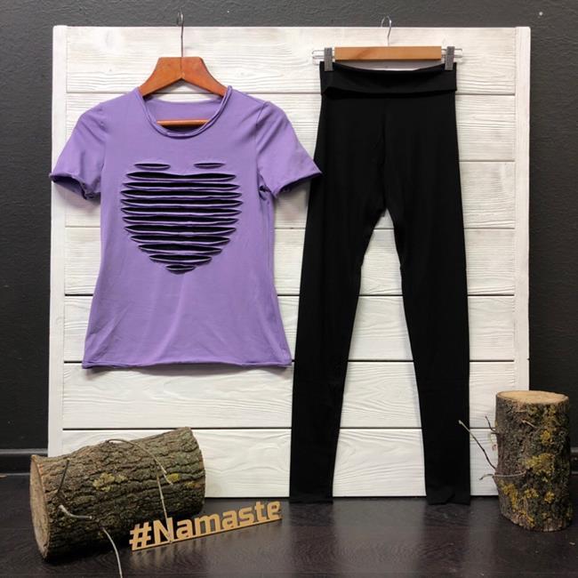 Футболка для йоги женская Yoga Heart Рамайога (0,3 кг, XS (42), сиреневый) футболка для йоги женская free рамайога ramayoga голубой 0 3 кг 42 46