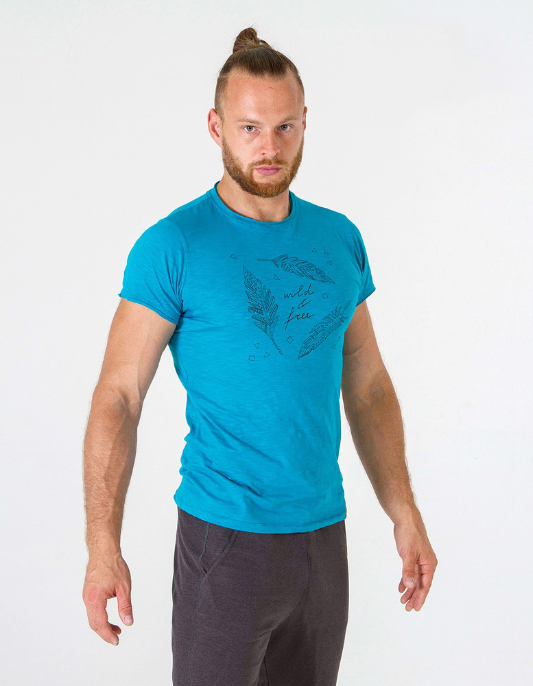 Футболка мужская Wild & Free YogaDress (0,3 кг, L (50), бирюзовый)
