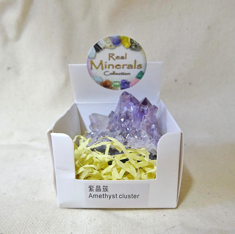 Аметист кластер минерал/камень в коробочке Real Minerals Collection