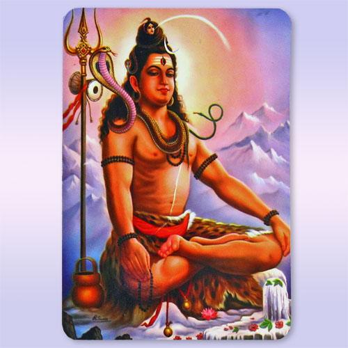Магнит Шива в медитации Оберег-Защита 6см-9см ламинированный