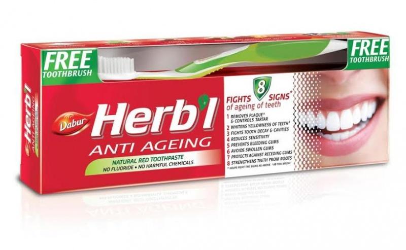 Зубная паста anti ageing (антивозрастная) + зубная щетка Dabur Herbl (150 г) натуральная защитная зубная паста herb l basil с базиликом щетка в подарок dabur