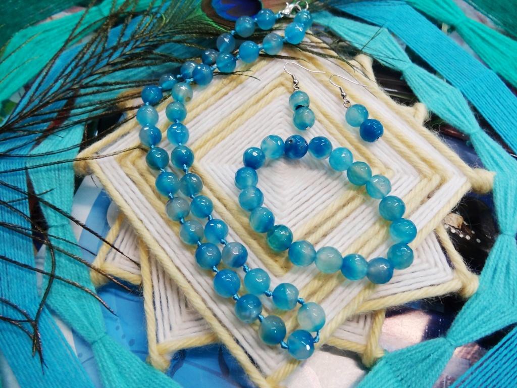 Набор украшений Голубой Агат бусы+браслет+серьги авторские бусы агат хрусталь сказочный блеск
