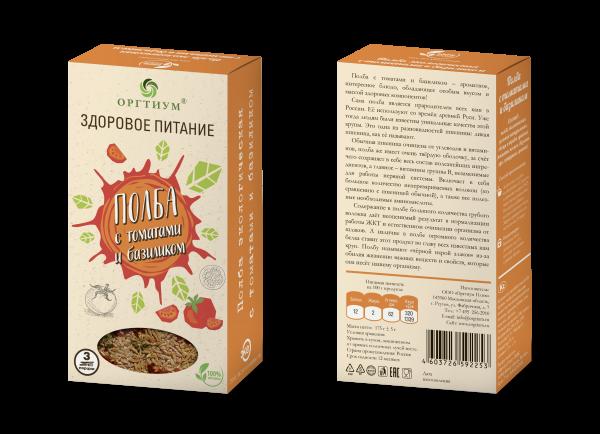 Полба цельнозерновая экологическая с томатами и базиликом, ОРГТИУМ (180 г)