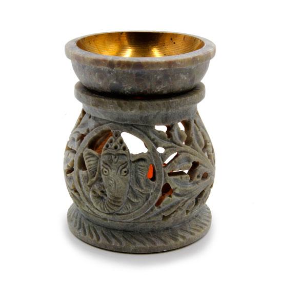 Аромалампа каменная ваза Ганеш с латунным покрытием чашечки 8 см