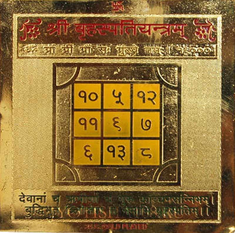 Шри Брихаспати гуру янтра (янтра Юпитера, Четверг, власть, благополучие, высокое положение в общ) (большая 8см)