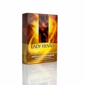 Травяная краска золотисто-коричневая Lady Henna (100 г) биокрин для волос купить