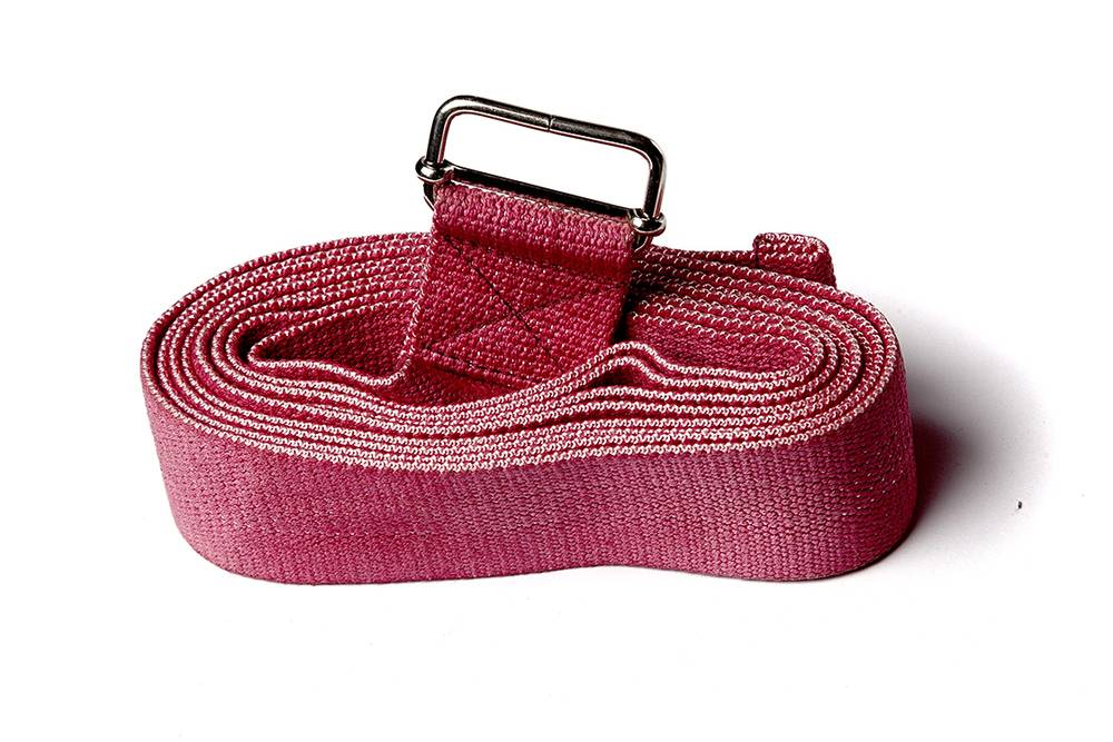 Ремень для йоги хлопковый Де люкс цветной длиной 270 см Рамайога (0,2 кг, 270 см, красный, 4 см)