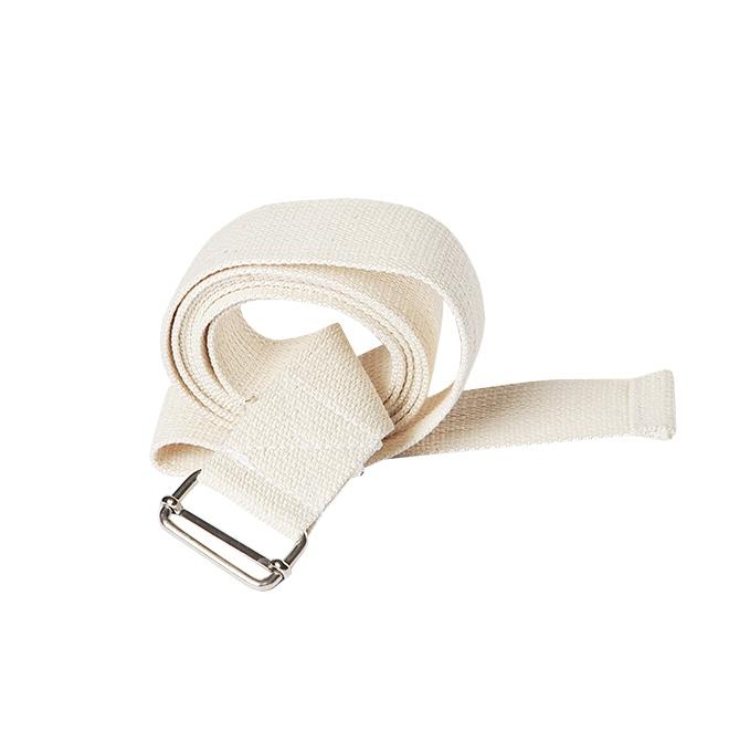 Ремень для йоги хлопковый Де люкс усиленный шириной 3см (150 см, белый, 3 см)