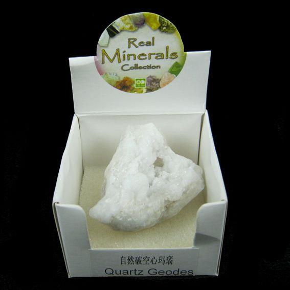 Кристалл жеода минерал в коробочке Quartz Geodes Real Minerals Collection ( Real Minerals 0.1 кг ) шпат атласный желтый минерал камень в коробочке real minerals collection