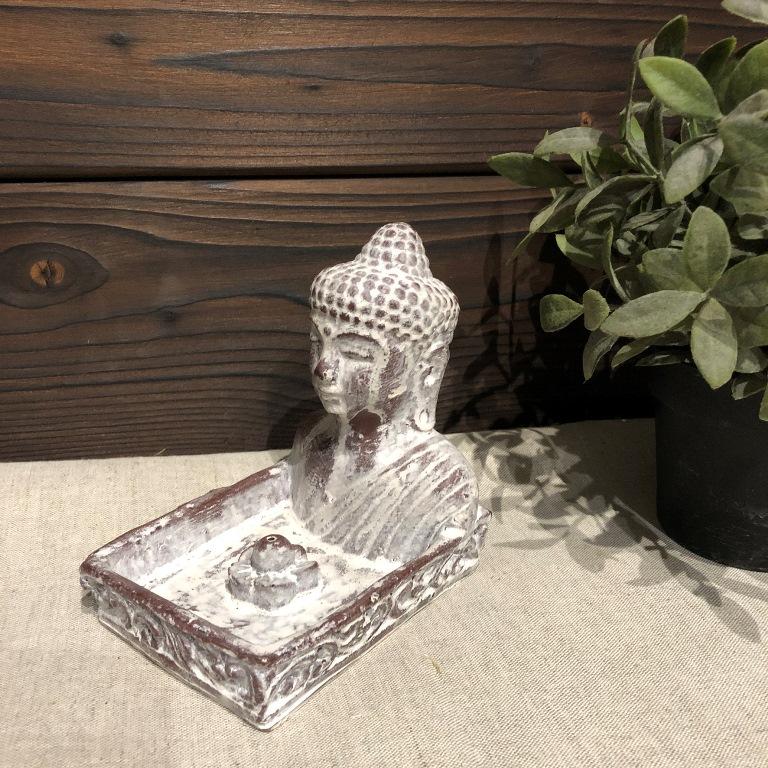 Подставка под благовония квадратная с Буддой из гипса с имитацией камня (0,2 кг, белый) подставка под благовония слоник с каменной крошкой