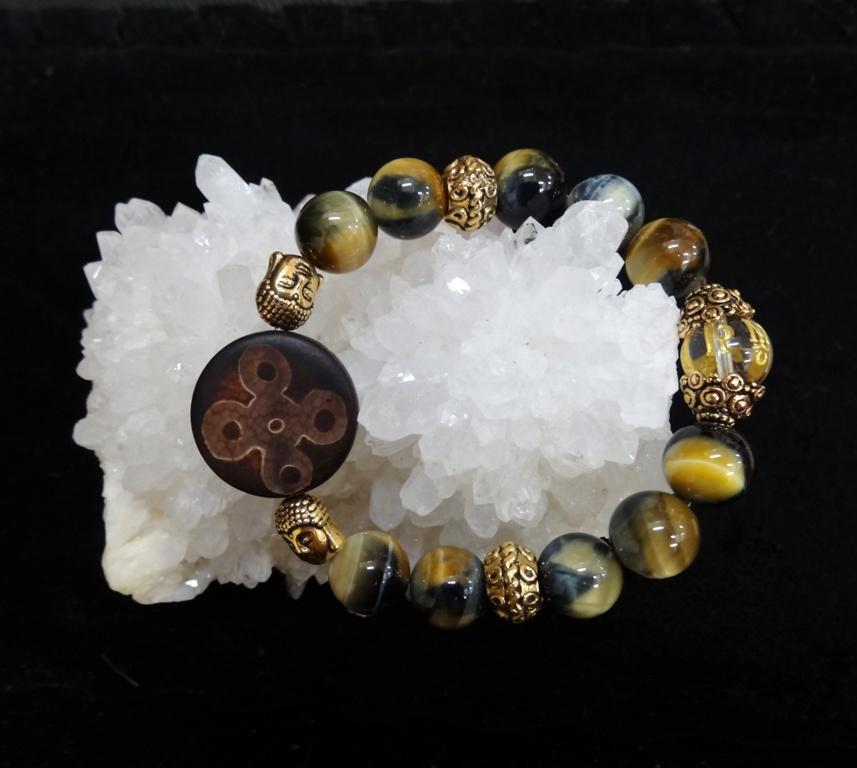 Браслет Сокровища Раджей (соколиный глаз, тибетский агат, горный хрусталь)
