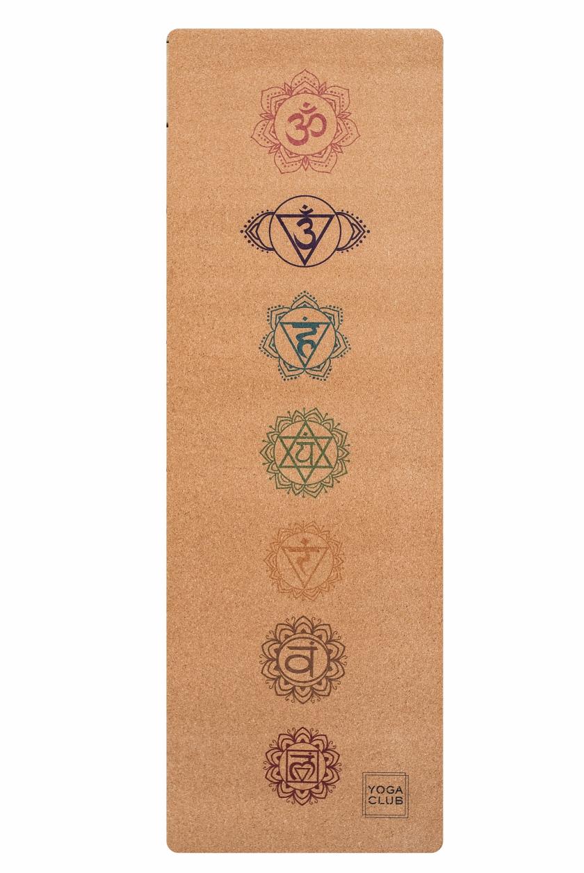 Коврик для йоги Chakras YC из пробки и каучука (2.5 кг, 185 см, 3 мм, бежевый, 60см) цена