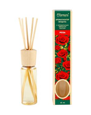 Ароматизатор тростниковый Роза Elfarma (45 мл) elfarma ароматизатор воздуха с натуральным эфирным маслом апельсин 45 мл