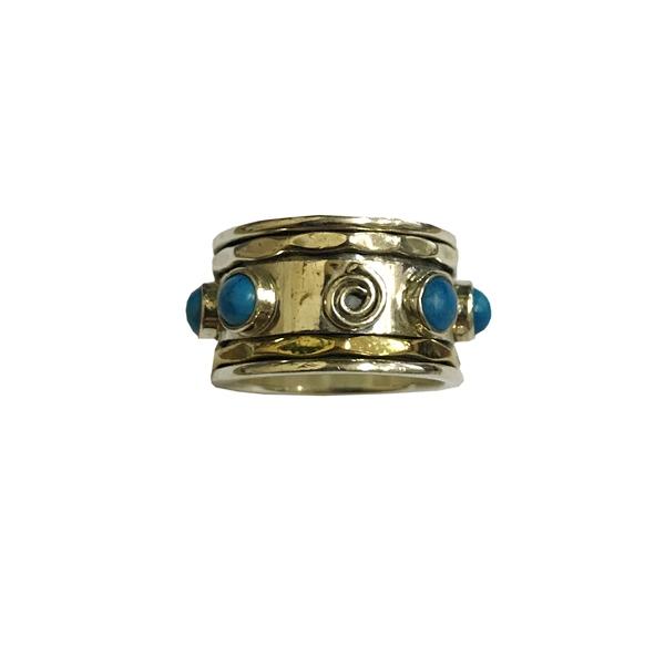 Кольцо прокручивающееся с бирюзой серебро