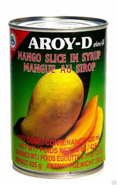 Манго дольки в сиропе ж/б AROY-D (425 г)