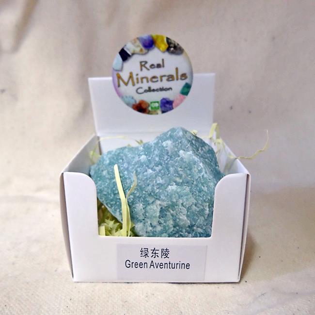 Авантюрин зеленый минерал/камень в коробочке Real Minerals Collection