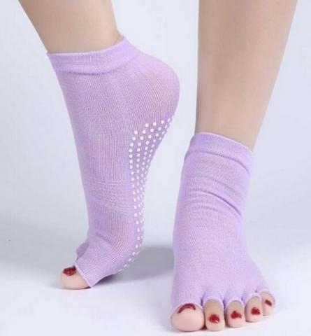 Носочки с открытыми пальчиками для йоги и пилатеса ( Yogatops голубой 0.1 кг ) цена