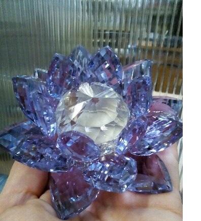 Кристалл лотос сиреневый стеклянный 11см (0,2 кг, 6 см, 10 см)