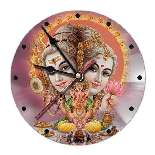 Часы настенные Шива, Парвати, Ганеш 20 см (MCH002 0,3 кг)