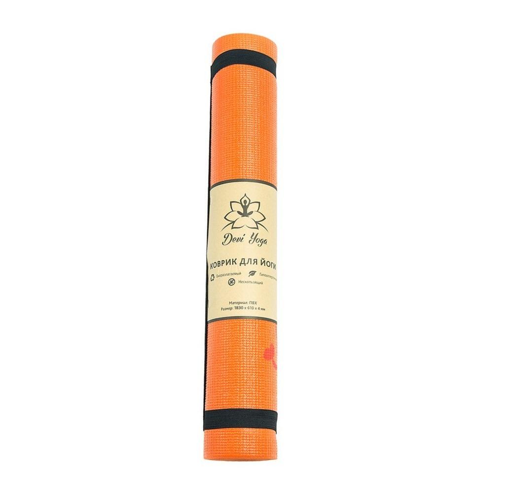 Фото - Коврик для йоги Сакура DY (1 кг, 185 см, 4 мм, оранжевый, 61см) коврик тренировочный reebok yoga mat crosses hi цвет черный толщина 4 мм длина 173 см