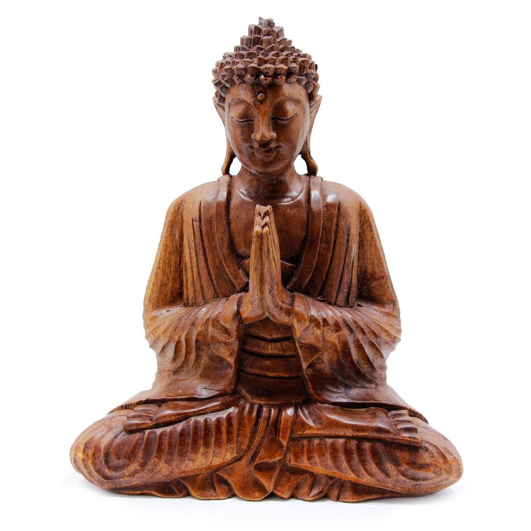 Будда в молитве резной из дерева 30см (0,4 кг)