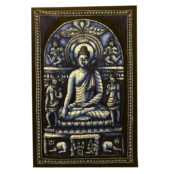 Панно тканевое будда в медитации синий фон 80х107см (синий) india s war