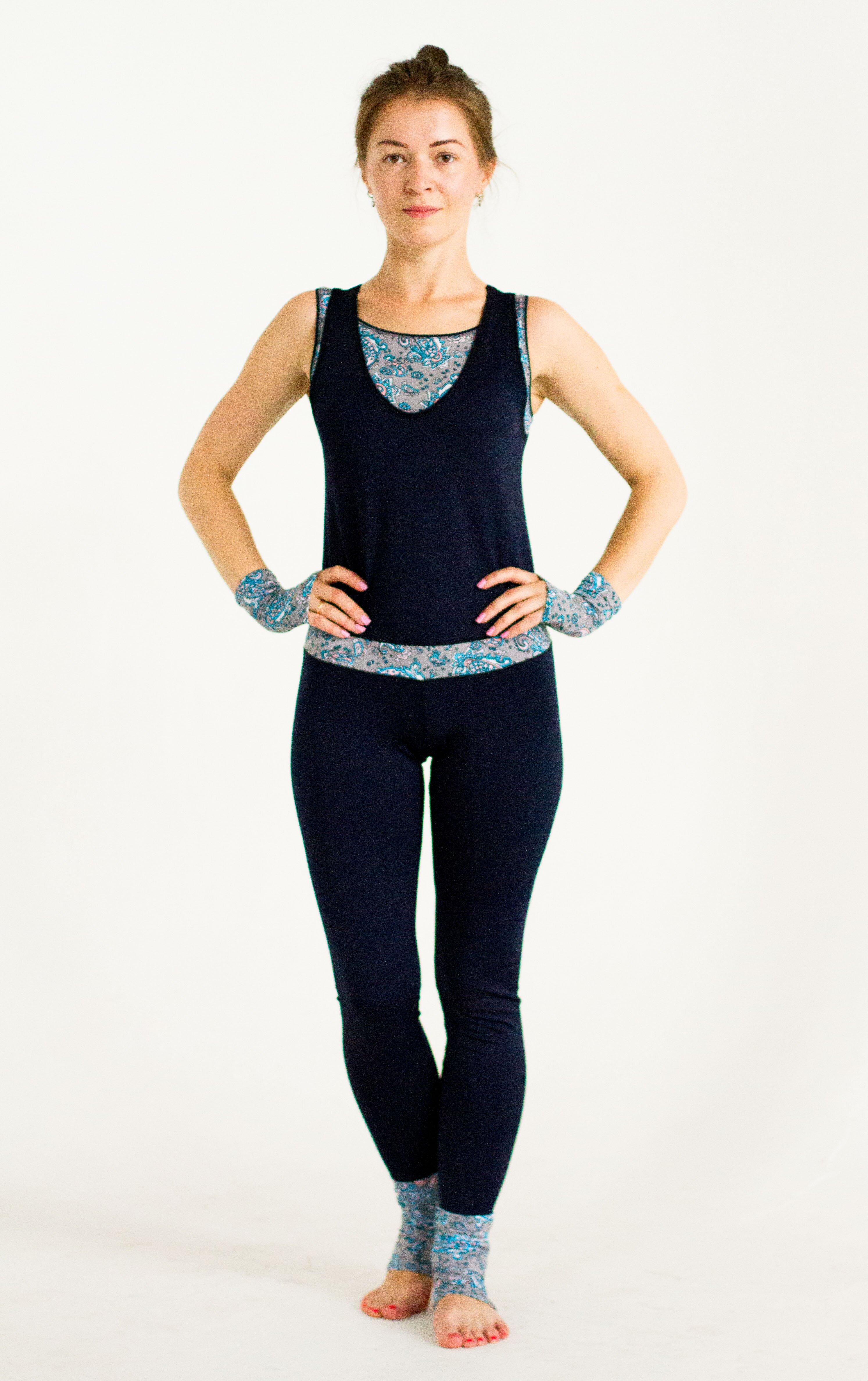 Комбинезон для йоги и фитнеса Селена (164см, S(44), темно-синий)