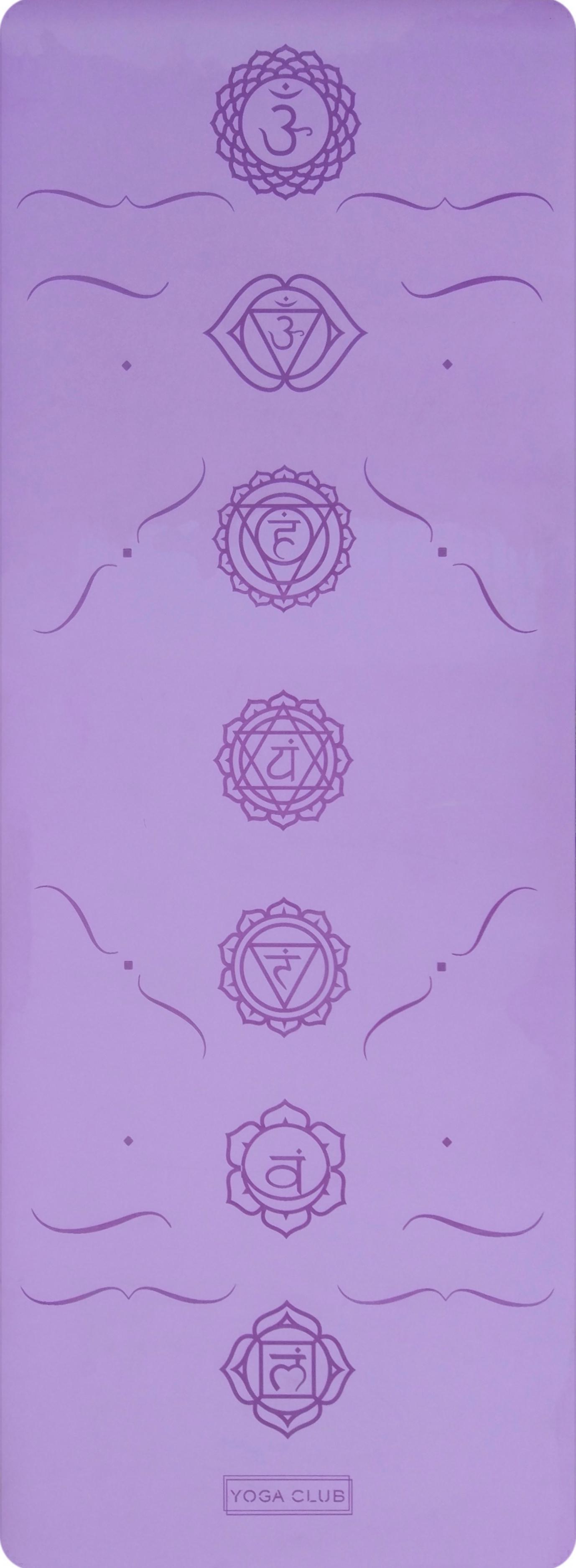Коврик для йоги Pro Chakras YC из полиуретана и каучука (2,3 кг, 183 см, 4.5 мм, фиолетовый, 68см)